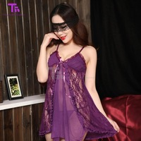 Free Shipping Summer New Sexy Lady Sleepwear Female Lace Transparent Nightgown Temptation Top with Panties (4 Color to Choose)