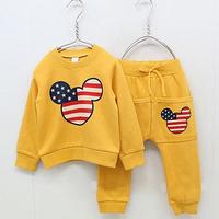 New fashion spring autumn cartoon portrait girls clothing sets baby child sweatshirt long trousers set girls coats pants