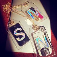 NEW Letters of transparent wind apple phone sets hang oblique neck chain bag