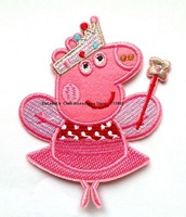 Piggy peppa pig iron on patches kid patch Cartoon Children embroidered  beaded applique  wholesale 100pcs/lot