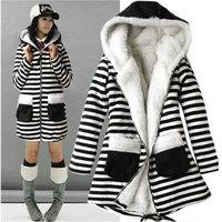 2014 Korean Women's Hooded Long Sweatshirts Outwear Black White Stripe Fashion Slim Berber Fleece Coat Winter Clothes 683#