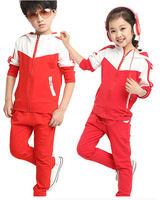 Children's clothing boys girls child 2014 autumn set zipper  7 8-9-10 11 -12  years old child girls boys sportswear set /3 color