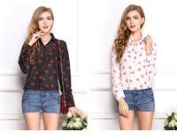 2014 Women Fashion Plus Size Blouse Chiffon Shirts Lip Print Tops Full Sleeve Slim All-Match Clothes Brand Summer  Wear CL2018