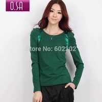 Free Shiping Fashion 2014 Casual Spring Autumn Women's Cotton Puff Long Sleeve Tops / Blouse / Bottom T-shirt