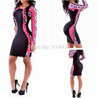 New 2014 Autumn Women Celeb Slim Hip Long Sleeve Patchwork Black Dresses Vintage Print Bandage Bodycon Night Club Party Dress