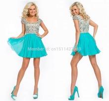 Cheap scoop di cristallo manica corta in rilievo homecoming abiti da shiny mini chiffon blu 2015 abiti da cocktail vestiti da partito TK117  ()