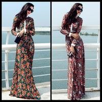 Free Shipping 2014 Autumn New Womens Slim Print Casual Long Maxi Dress High Waist Elegant Plus Size Lace Floor Length Dress