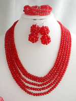 Free Shipping!!! Beauty designs, Nigerian crystal beads necklace jewelry set MN-2495