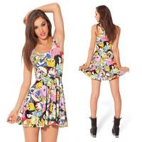 10 Styles Adventure Time Cartoon Hot topic Skater Dress Fashion Black Milk Dress women Plus Size L,XL wholesale free shipping