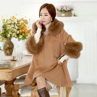 Women's coats 2014 Autumn & Winter coat  Women Outerwear Bat Sleeved Style Large Fur Colloer Long Woollen Coat  #6090 ,Free Ship