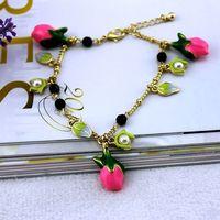 fashion bracelet for women 2014 hot selling Three-dimensional multiple enamel leaves bracelet rose girls love best