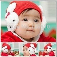 2014 New Arrival Wholesale&Retail Han version Solid Color Children/Baby Knit Hat With Rabbit Decoration Autumn Winter Cap