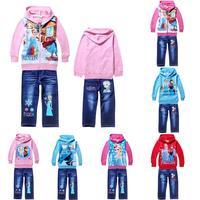 2014 new fashion frozen children clothing set Princess Anna baby kids girls hoodies jeans suit,retail cartoon frozen clothes