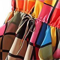Free shipping Women's Slim Fit Round Neck Color Block Sleeveless Chiffon Dress
