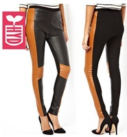 Drop ship!motorcycle punk style 2014 new brand PU leather Splicing leggings womens slim hip trousers OL Pencil pants