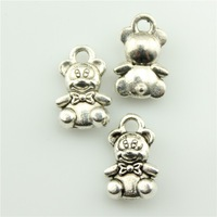 50pcs 11*7mm tiny bear charms antique silver tone pendant