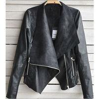 2014 New Women Punk Zip Rivet Lapel Blazer Coat Soft Lightweight PU Leather Slim Casual Motorcycle Moto Jacket Top S-XXL