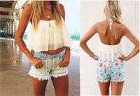 2014 Plus Size Fashion Summer Cutout Lace And Chiffon Blouse T-shirt Slim Vest Slash Neck Sexy Shirt Large Size Women's Tops