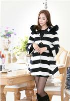 2014 Women's Wool & Blend Coats Woman Casacos Femininos 2014 Inverno Bat Large Fur Hooded Long Woollen Outerwear #6616,Free Ship