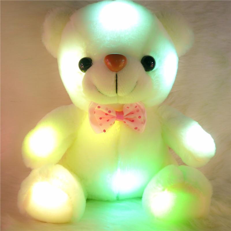 2014 new Colorful LED luminous Bear slow flash plush toys Cute Teddy Bear hold pillow Toys Christmas Gift 1046(China (Mainland))