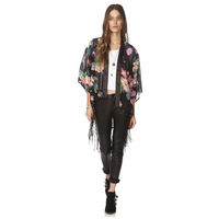 10pcs/lot Free shipping Vintage Retro Women Ethnic floral tassels Loose Kimono Sunset Chiffon Cardigan Chiffon Blouse Outwear