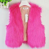 2014 New Autumn Winter Women Faux Fur Vest Sleeveless Waistcoat Gilet Coat Jacket Outwear Multicolor Free Shipping