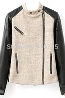 NEW 2014 jackets women Winter and Autumn Women Long Sleeves Personalized PU Paneled Woolen Jacket