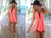 Top Fasion Women Casual Beach Style Siamese Pants 2014 Fashion Patchwork Jumpsuits LT-7004