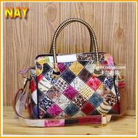 Best Selling Women Handbag Luxury Lady Snake Pattern Tote Shining Patent Leather Shoulder Bag Colorful K496