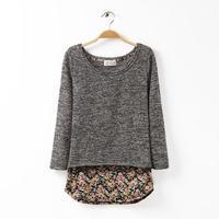 2014 women fashion grey khaki knitwear o-neck pullover lace sweep sweater 350020
