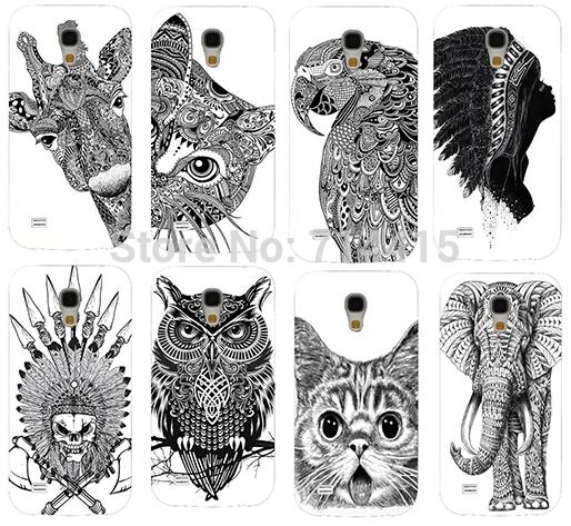 Cool Cartoon Black And White Animal pattern Cute Custom mobile phone Back cover skin Shell for Samsung galaxy S4 mini I9190(China (Mainland))