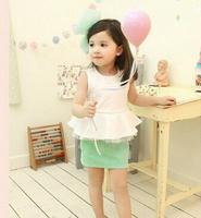 Retail 1set New 2014 Summer Autumn Girl's Fashion Flower Clothing Set Sleeveless Ruffle T-shirt + Skirt Free Shipping CCC313