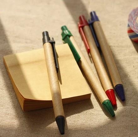 New retro elegant ballpoint pen kraft Japanese low-carbon renewable green pen pen 10 / pack(China (Mainland))