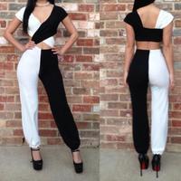 New  Women  Sexy Black White  Sleeveless  Bandage Jumpsuit  Bodysuit Catsuit Overall 4026