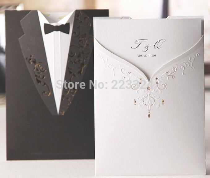 Frete cutomize projeto 50 pcs impressão de seda do casamento noiva noivo convites cartões + Envelopes + selos casamento convida(China (Mainland))