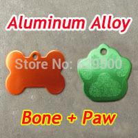 600pcs Bone+Paw Mixed Shape Dog ID Tags Cheap Blank Dog Tags Colorful Pet Tags DHL Free Shipping!
