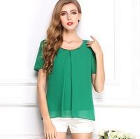 2014 Women Fashion Plus Size Blouse Chiffon Shirts T-Shirt  Tops Short  Sleeve Loose  All-Match Clothes Brand Summer  CL2022