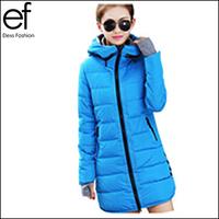 Lanluu Winter Down Coat 2014 Hooded Slim Long Women Cotton Jackets Autumn Parkas Female NM584