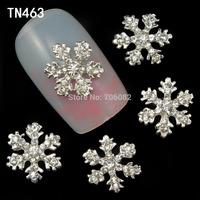 20 Pcs/Lot 3D Alloy Snowflake Christmas Nail Designs Stickers Nail Art Decorations Tips DIY Rhinestone Decoration TN463