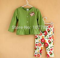Retail 1Set New 2014 For Spring Autumn Fashion Girls Clothing Sets Coat + Flower Pants Baby 2PCS Suit  ZZ2612
