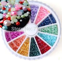 1800pcs Nail Art Half Round Pearls Rhinestone 12 Colors Decoration Wheel 2mm