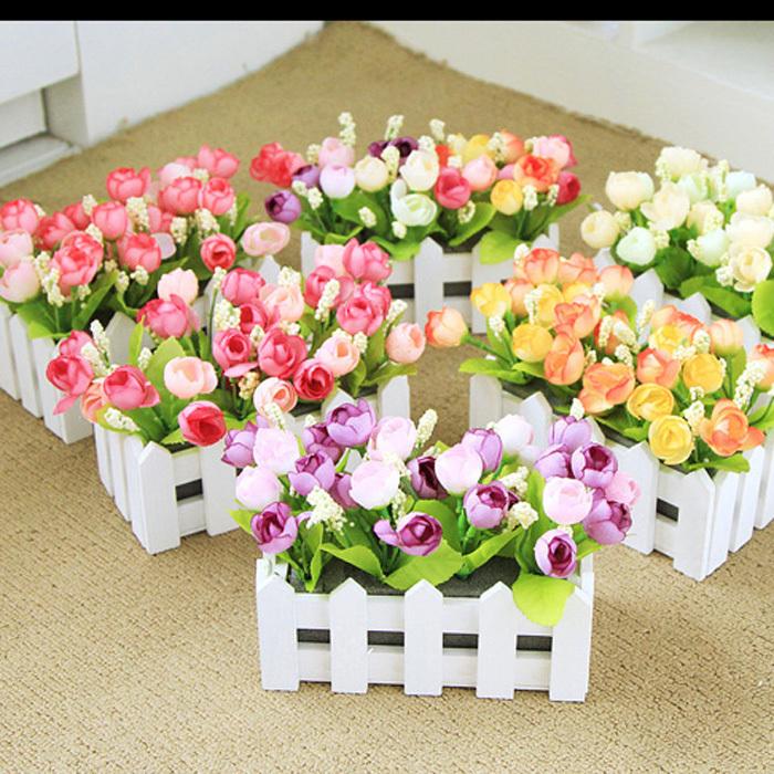 QQ rosa cor de rosa chá aumentou terno pequena flores artificiais flor de seda flores artificiais flores secas arranjo floral colocado (Wi(China (Mainland))