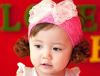 2014 hot selling Free shipping Headdress Princess Lace Baby Infant Tulle Lace Headwear Bowknot Hairbands