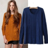 Winter New England College style retro shag line twist o neck long-sleeved knitted sweater hedging patch sweaters Women 2014