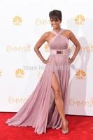 2014 Emmys Awrad Best Dress red carpet Celebrity Dresses Halter Draped chiffon evening dresses with side slit prom dresses WC01