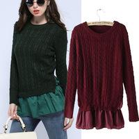 women's sweater coat tide 2014 new fall spring fashion women retro twist hem stitching round o neck pullover female 3 colors