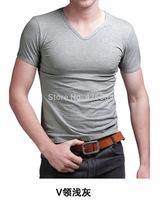 2014 New style fashion summer mens t shirt short sport t-shirts men fitness brand V-neck sport t-shirt slim free shipping