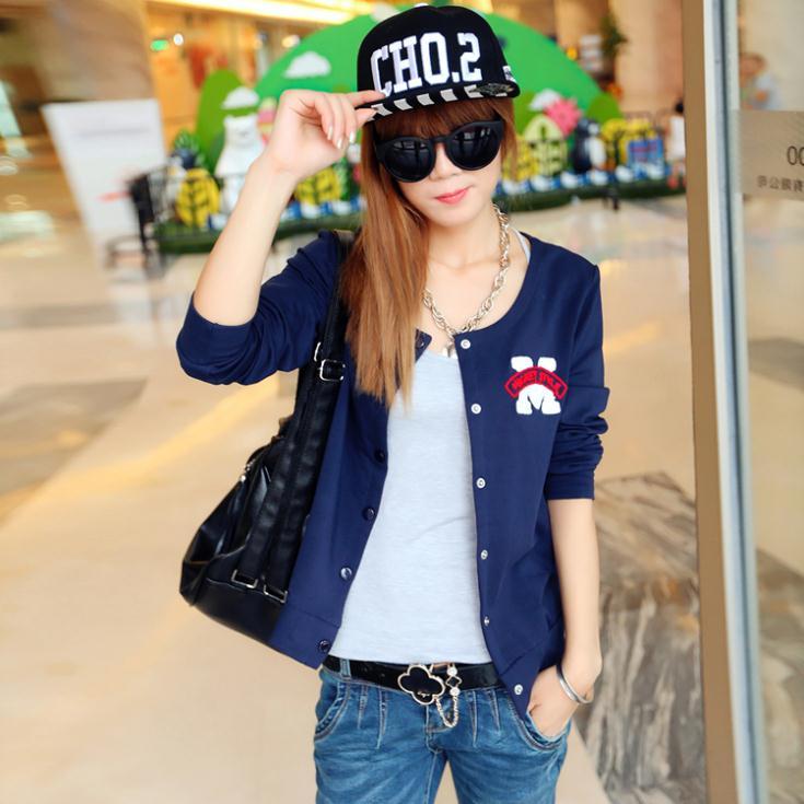 Hitz 2014 Korean version of the loose round neck short letter baseball uniform female cardigan jacket tide(China (Mainland))