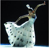 White peacock dance costume women's expansion skirt performance wear
