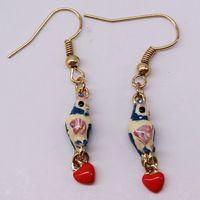 fashion earrings for women 2014 hot selling Drip enamel birds hearts earrings girls love best